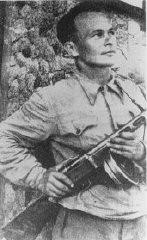 "<p>Yiddish <a href=""/narrative/7108/en"">writer</a> and cultural activist Shmerke Kaczerginski, who joined Jewish <a href=""/narrative/5679/en"">partisans</a> in the Vilna area. 1944–1945.</p>"
