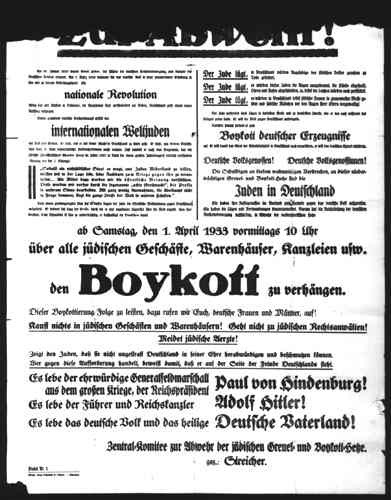 <p>This poster from Munich, Germany, proclaims the April 1, 1933, boycott of Jewish-owned businesses and services offered by Jewish professionals. It calls on all Germans to honor the boycott, which began at 10 a.m. The poster was signed by the radical Nazi antisemite, Julius Streicher, official organizer of the boycott.</p>
