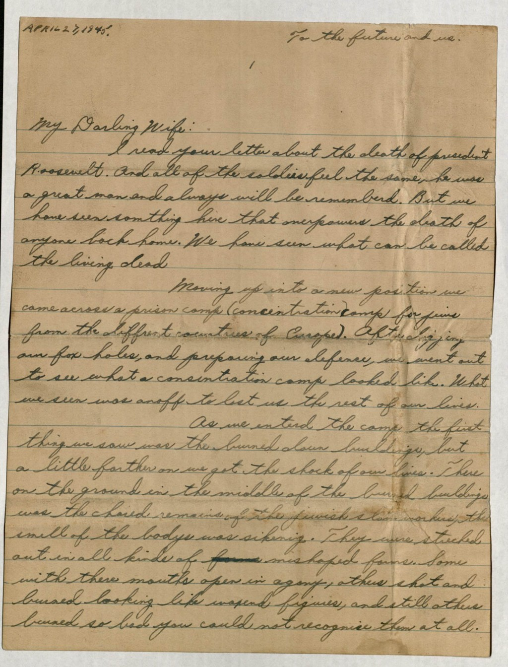 """<p>Aaron A. Eiferman, a member of the <a href=""""/narrative/8066/en"""">12th Armored Division</a>, wrote this letter to his wife in the United States. Writing """"We have seen what can be called the living dead,"""" he describes his experiences as the 12th overran a Dachau subcamp in the Landsberg area on April 27, 1945.</p>"""