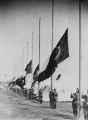 """<p>Scene from the opening ceremonies of the <a href=""""/narrative/7139/en"""">1936 Olympic Games</a>. Berlin, Germany, August 1, 1936.</p>"""