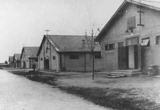 <p>View of buildings in theSered concentration campin Slovakia, 1941–44.</p>