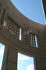 <p>Detail of the 14th Street facade of the United States Holocaust Memorial Museum. Washington, DC, April 2003.</p>