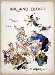 "<p>Ink and Blood by <a href=""/narrative/7579/en"">Arthur Szyk</a>, 1944. Szyk portrayed himself at his desk, finishing off a still-struggling <a href=""/narrative/43/en"">Adolf Hitler</a>. Goering, Himmler, and Franco attempt to escape. In the wastebasket are the defeated figures of Mussolini, Laval, and Petain, whose regimes fell as a result of the Allied invasions. [Gift of Alexandra and Joseph Braciejowski]</p>"