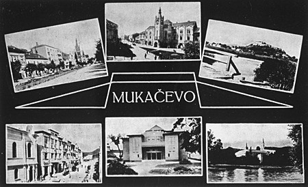 <p>Postcard depicting sights in Munkacs, Czechoslovakia. 1938.</p>