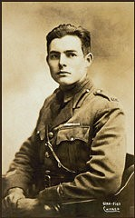 "<p>Ernest Hemingway in his <a href=""/narrative/28/en"">World War I</a> Red Cross Ambulance Corps uniform, ca. 1918.</p>"