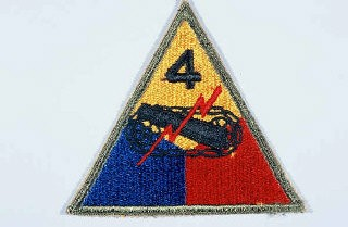 "<p>Insignia of the <a href=""/narrative/7807/en"">4th Armored Division</a>. The commanding general of the 4th Armored Division refused to sanction an official nickname for the 4th, believing that the division's accomplishments on the battlefield made one unnecessary. ""Breakthrough"" was occasionally used, apparently to highlight the division's prominent role in the breakout from the <a href=""/narrative/2899/en"">Normandy beachhead</a> and liberation of France in 1944.</p>"