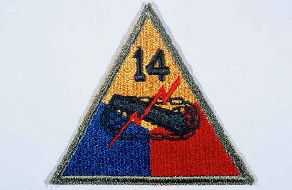 "<p>Insignia of the <a href=""/narrative/7821/en"">14th Armored Division</a>. Although lacking a nickname during the war, the 14th became known as the ""Liberators"" soon afterward to signify its accomplishments in <a href=""/narrative/2317/en"">liberating</a> hundreds of thousands of forced and slave laborers, concentration camp prisoners, and Allied prisoners of war in 1945.</p>"