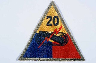 "<p>Insignia of the <a href=""/narrative/7945/en"">20th Armored Division</a>. Although no nickname is commonly associated with the 20th, ""Armoraiders"" may have been occasionally in use during <a href=""/narrative/2388/en"">World War II</a>.</p>"