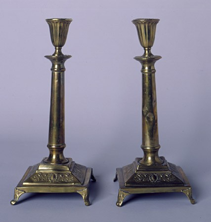 """<p>A pair of candlesticks, bought in Poland and used every Friday evening during observance of the Jewish Sabbath. <a href=""""/narrative/7045/en"""">Polish Jewish refugees fleeing the German invasion of Poland</a> in 1939 carried these candlesticks with them to Vilna.</p>"""