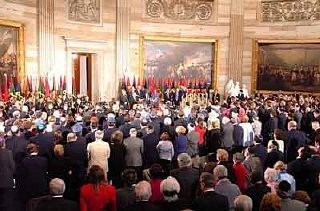 <p>Scene during the 2001 Days of Remembrance ceremony, in the Rotunda of the US Capitol. Flags of the liberating divisions feature prominently in the Museum's Days of Remembrance ceremonies. Washington, DC, 2001.</p>