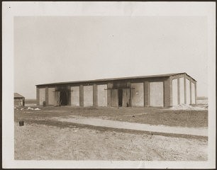 "<p>Barn on the outskirts of the town of <a href=""/narrative/8101/en"">Gardelegen</a> that was the site of the massacre of over 1,000 concentration camp prisoners. Germany, April 16, 1945.</p>"