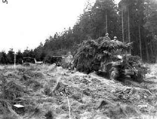 "<p>An American anti-aircraft gun, towed by a truck camouflaged with foliage, moves into position in the <a href=""/narrative/8159/en"">Hürtgen Forest</a> to provide fire support against ground targets. November 6, 1944. <a href=""/narrative/8129/en"">US Army Signal Corps</a> photograph taken by C A Corrado.</p>"