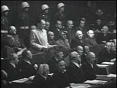 <p>After the defeat of Germany, the Allies tried leading state and party officials and military commanders of the Third Reich before a tribunal of military judges from the Soviet Union, Great Britain, France, and the United States. This International Military Tribunal tried 22 major war criminals during what is commonly known as the Nuremberg Trial, which lasted from November 1945 to October 1946. This footage shows the accused entering pleas following their indictment on charges of crimes against peace, war crimes, and crimes against humanity. Hjalmar Schacht, Franz von Papen, and Hans Fritzsche were acquitted by the tribunal. Twelve of the defendants, including Hermann Goering, Wilhelm Keitel, Joachim von Ribbentrop, and Ernst Kaltenbrunner, were sentenced to death. Others served prison terms ranging from ten years to life in prison.</p>