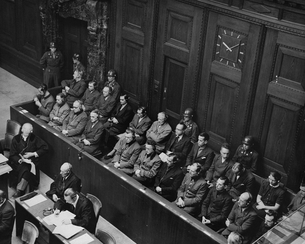 """<p>The defendants' dock and members of the defense counsel during the <a href=""""/narrative/9245/en"""">Doctors Trial</a>. Nuremberg, Germany, December 9, 1946–August 20, 1947.</p>"""