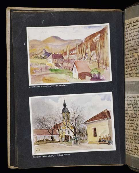<p>(Bottom) In a drawing dated April 18, 1942, Beifeld shows the school where the Hungarian Labor Service company 109/13 was quartered in Csobanka (Szentendre district), Hungary, before its departure for the Ukraine. A group of Hungarian soldiers [assigned to the labor service company] sits outside in the schoolyard. [Photograph #57947]</p>
