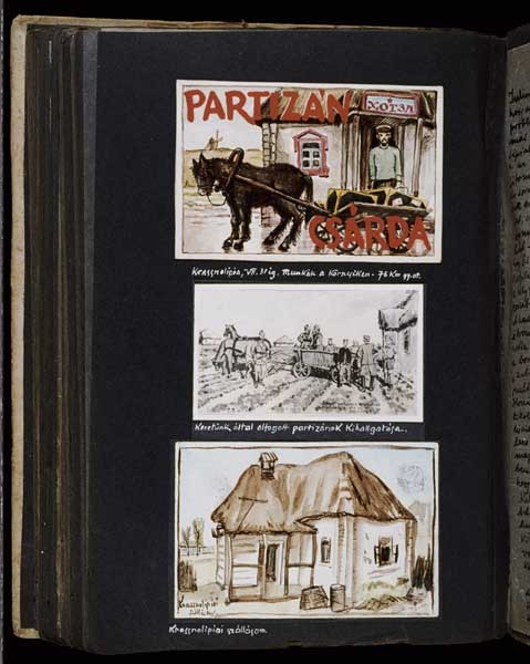 "<p>(top) ""Watercolor entitled 'Partisan hotel and public house', Krassnolipia, Ukraine, until July 31, 1942""; (middle) ""Drawing entitled 'The interrogation of partisans captured by our unit'""; (bottom) ""Watercolor entitled 'My lodgings in Krassnolipia'"" [Photograph #58040]</p>"