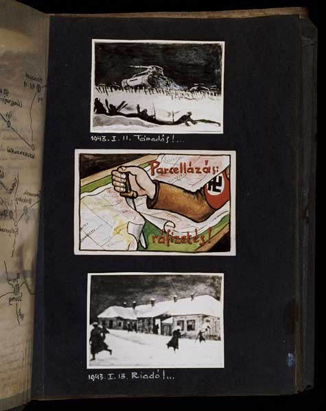 "<p>(Top and bottom) The image at the top shows Hungarian soldiers abandoning their trenches on the front lines as a Soviet tank overruns the barbed wire fortification separating the two armies. The drawing at the bottom captioned ""Alarm,"" shows Hungarian soldiers running back and forth sounding the alarm of the Soviet counteroffensive. The drawings are dated Jan 11 and 13, 1943. [Photograph #58103]</p>"