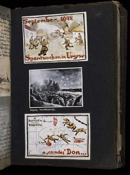 "<p>(top) ""Watercolor entitled 'Sports weeks in Uryv, September 1942' in which a Russian tank attacks a Hungarian unit in Uryv.""; (bottom) ""Watercolor entitled 'Quiet Don: a detailed map of the Don River area' featuring images of dead soldiers, horses and spilled blood on a map of the Don River."" [Photograph #58060]</p>"