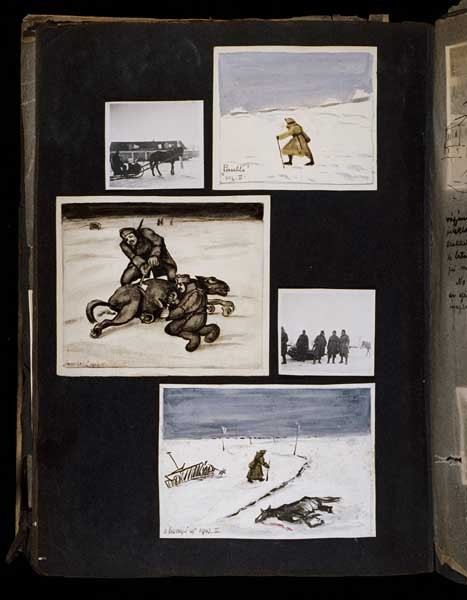 "<p>(Middle, left and bottom) In the drawing at the middle, left, Hungarian soldiers use an ax to cut up a dead horse in order to get meat to sustain themselves. The image at the bottom, titled ""The Long Trip, February 1943,"" shows a Hungarian soldier walking along a road past a dead horse and an abandoned harrow that is half buried in the snow. [Photograph #58110]</p>"