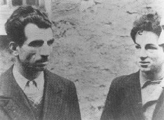 <p>Two French partisans, Missak Manouchian (left) and Wolf Wajsbrot (right), who belonged to the French armed resistance group Francs-Tireurs et Partisans. They were executed by firing squad on February 21, 1944. Paris, France, February, 1944.</p>