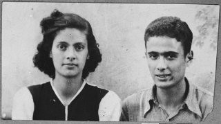 """<p>Portrait of Victoria and Isak Assael, the daughter and son of Shabetai Assael. They were students and lived at Sremska 9 in Bitola.</p> <p>This photograph was one of the individual and family portraits of members of the Jewish community of<a href=""""/narrative/9092/en"""">Bitola</a>, Macedonia, used by<a href=""""/narrative/5955/en"""">Bulgarian occupation authorities</a>to register the Jewish population prior to its deportation in March 1943.</p> <p></p>"""