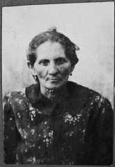 """<p>Portrait of Hana Ergas, wife of Isak Ergas. She lived at Zmayeva 20 in Bitola.</p> <p>This photograph was one of the individual and family portraits of members of the <a href=""""/narrative/9092/en"""">Jewish community of Bitola</a>, Macedonia, used by Bulgarian occupation authorities to register the Jewish population prior to its deportation in March 1943.</p>"""