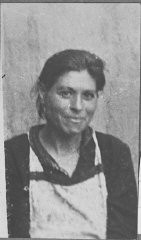 """<p>Portrait of Sara Israel, wife of Isak Israel. She lived at Krstitsa 10 in Bitola.</p> <p>This photograph was one of the individual and family portraits of members of the <a href=""""/narrative/9092/en"""">Jewish community of Bitola</a>, Macedonia, used by <a href=""""/narrative/5955/en"""">Bulgarian occupation authorities</a> to register the Jewish population prior to its deportation in March 1943.</p>"""