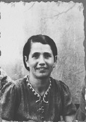 """<p>Portrait of Sara Ischach, wife of Lazar Ischach. She lived at Drinksa 77 in Bitola.</p> <p>This photograph was one of the individual and family portraits of members of the <a href=""""/narrative/9092/en"""">Jewish community of Bitola</a>, Macedonia, used by Bulgarian occupation authorities to register the Jewish population prior to its deportation in March 1943.</p>"""