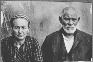 """<p>Portrait of David Kamchi, son of Masliach Kamchi, and his wife Sara. They lived at Gostivarska 3 in Bitola.</p> <p>This photograph was one of the individual and family portraits of members of the Jewish community of<a href=""""/narrative/9092/en"""">Bitola</a>, Macedonia, used by<a href=""""/narrative/5955/en"""">Bulgarian occupation authorities</a>to register the Jewish population prior to its deportation in March 1943.</p>"""
