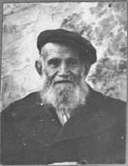 """<p>Portrait of David Pesso. He was a dealer of second-hand items. He lived at Novatska 4 in Bitola.</p> <p>This photograph was one of the individual and family portraits of members of the Jewish community of<a href=""""/narrative/9092/en"""">Bitola</a>, Macedonia, used by<a href=""""/narrative/5955/en"""">Bulgarian occupation authorities</a>to register the Jewish population prior to its deportation in March 1943.</p>"""