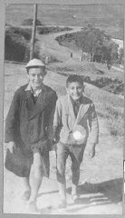 """<p>Portrait of two schoolchildren: Solomon Faradji, son of Avram Faradji, and Sami Levi, son of Rafael Levi. Solomon lived at Karagoryeva 113, and Sami lived at Karagoryeva 105, in Bitola.</p> <p>This photograph was one of the individual and family portraits of members of the Jewish community of<a href=""""/narrative/9092/en"""">Bitola</a>, Macedonia, used by<a href=""""/narrative/5955/en"""">Bulgarian occupation authorities</a>to register the Jewish population prior to its deportation in March 1943.</p>"""