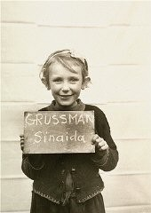 <p>Sinaida Grussman was photographed in the Kloster Indersdorf children's center after the war. The picture was taken in an attempt to help locate surviving relatives. Such photographs of both Jewish and non-Jewish children were published in newspapers to facilitate the reunification of families. Germany, after May 1945.</p>
