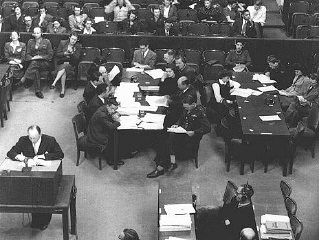 "<p>The prosecution team during the <a href=""/narrative/9245/en"">Doctors' Trial</a>. Nuremberg, Germany, December 9, 1946-August 20, 1947.</p>"