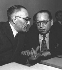 "<p>Professor Raphael <a href=""/narrative/9290/en"">Lemkin</a>, left, and Ricardo Alfaro of Panama (chairman of the Assembly's Legal Committee) in conversation before the plenary meeting of the General Assembly at which the Convention on the Prevention and Punishment of <a href=""/narrative/9275/en"">Genocide</a> was approved.</p>"