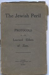 <p>Cover of <em>The Jewish Peril: The Protocols of the Learned Elders of Zion</em>, published in London, 1920.</p>