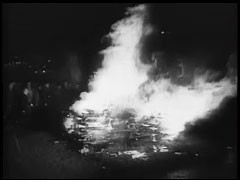 "<p>The film ""The Nazi Plan"" was shown as evidence at the International Military Tribunal in Nuremberg on December 11, 1945. It was compiled for the trial by Budd Schulberg and other US military personnel, under the supervision of Navy Commander James Donovan. The compilers used only German source material, including official newsreels. This footage is titled ""The Burning of the Books, 10 May 1933.""</p>"