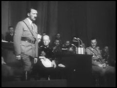 "<p>The film ""The Nazi Plan"" was shown as evidence at the International Military Tribunal in Nuremberg on December 11, 1945. It was compiled for the trial by Budd Schulberg and other US military personnel, under the supervision of Navy Commander James Donovan. The compilers used only German source material, including official newsreels. In this footage titled ""Seventh Party Congress 10–16 September 1935,"" Hermann Goering announces restrictive racial laws.</p>"