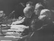 "<p>This footage comes from ""Nuremberg, Its Lesson for Today"" a 1947 documentary film produced by the US military's Documentary Film Unit, Information Services Division. The film, directed by Pare Lorentz and Stuart Schulberg, shows footage from the trial of Nazi war criminals by the International Military Tribunal. It also intermixes historical footage depicting the founding of the Nazi state, the unleashing of World War II, and Nazi crimes against humanity. The sentencing sequence shown here illustrates the incorporation of film clips used as evidence during the Nuremberg trial.</p>"