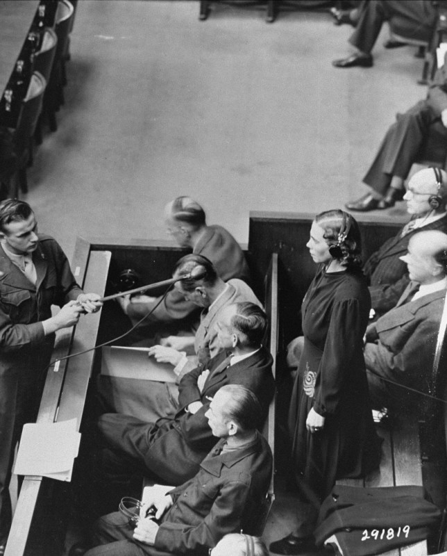"<p>Defendant Inge Viermetz pleads not guilty at her arraignment during the RuSHA Trial, <a href=""/narrative/9532/en"">case #8</a> of the Subsequent Nuremberg Proceedings. October 10, 1947.</p>"