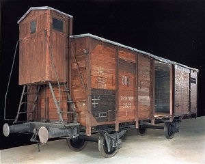<p>View of the railcar on display in the Permanent Exhibition of the United States Holocaust Memorial Museum. Washington DC, June 19, 1991. Courtesy of Polskie Koleje Panstwow S.A.</p>