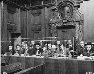 """<p>View of the interpreters' section in the <a href=""""/narrative/9695/en"""">courtroom</a> during the <a href=""""/narrative/9366/en"""">International Military Tribunal</a>. Nuremberg, Germany, March 29, 1946.</p> <p>The Nuremberg trials were an early experiment in simultaneous <a href=""""/narrative/9992/en"""">translation</a>. The charter of theInternational Military Tribunalstated that the defendants had the right to a fair trial and that, accordingly, all proceedings be translated into a language that the defendants understood.</p>"""