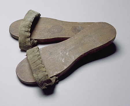 <p>Wooden sandals worn by a member of the Mir Yeshiva in Shanghai. [From the USHMM special exhibition Flight and Rescue.]</p>