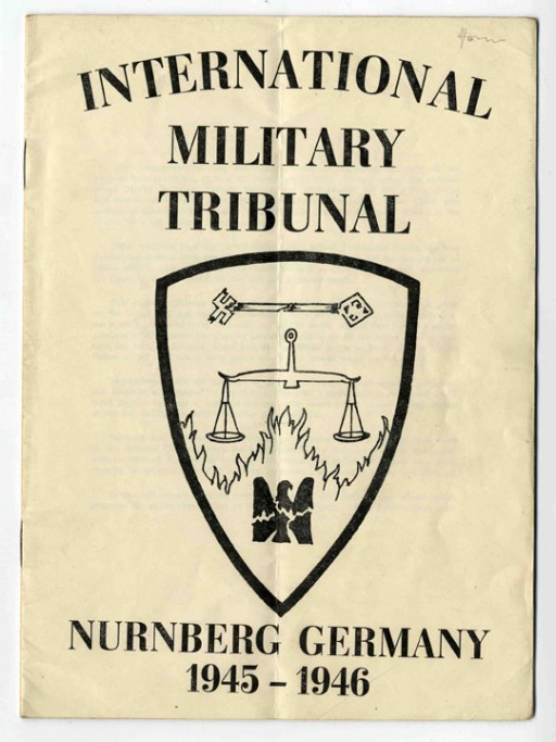 <p>Cover of program booklet distributed at the International Military Tribunal at Nuremberg.</p>