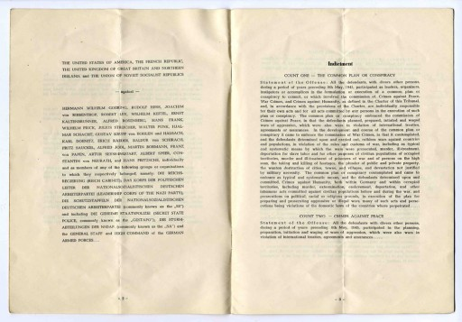 "<p>Second and third pages of a program booklet distributed during the <a href=""/narrative/9366/en"">International Military Tribunal</a> at Nuremberg. Note the <a href=""/narrative/9734/en"">definitions</a> of the conspiracy charge and crimes against peace, brought in the indictment.</p>"