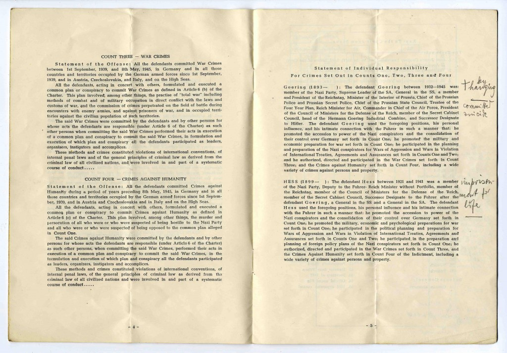 "<p>Fourth and fifth pages of a program booklet distributed during the <a href=""/narrative/9366/en"">International Military Tribunal</a> at Nuremberg. Page four <a href=""/narrative/9734/en"">defines the charges</a> of war crimes and crimes against humanity. The fifth page begins the list of IMT defendants. Handwritten notes in the margin record each defendant's sentence as it was read aloud in the courtroom.</p>"