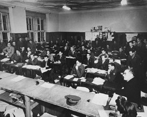 <p>The press room at the International Military Tribunal. Nuremberg, Germany, between November 1945 and October 1946.</p>