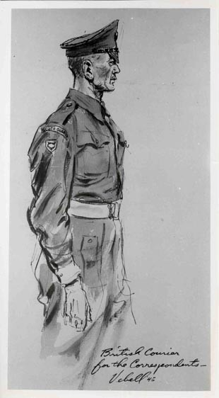 "<p>Courtroom sketch drawn during the International Military Tribunal by American artist Edward Vebell. The drawing's title is ""British Courier for the Correspondents."" 1945.</p>"