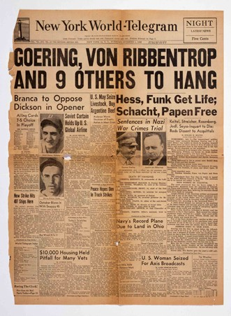 <p>The front page of the New York World Telegram newspaper from Tuesday, October 1, 1946, announcing the sentences of the International Military Tribunal defendants.</p>