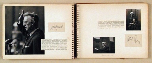 """<p>Many observers at the <a href=""""/narrative/9366/en"""">International Military Tribunal</a> (IMT) at Nuremberg, aware of the historic nature of the trial, created scrapbooks to preserve their own record of the Nuremberg court. First Lieutenant Herman E. Klappert, Jr. was a photographer with the U.S. Army Signal Corps who assembled three such scrapbooks. Klappert's albums consist almost entirely of photographs that he printed himself. Also included in the albums are original autographs from the defendants and other principal figures at the trial, official identification cards issued to Klappert, pages from a program guide handed out at the trial, and prints from motion picture film. On these two pages are signatures from IMT defendants <a href=""""/narrative/9909/en"""">Arthur Seyss-Inquart</a> and <a href=""""/narrative/9912/en"""">Albert Speer</a>.</p>"""