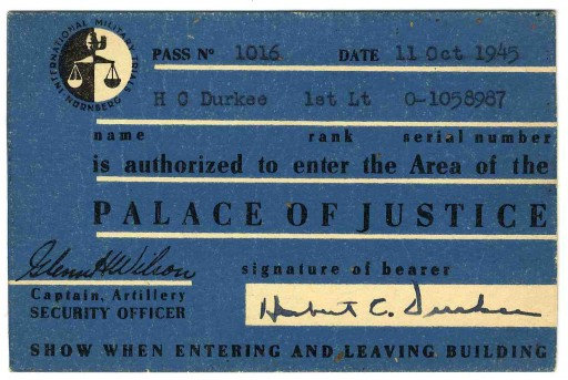 <p>Entry pass to the prison housing war criminals at the International Military Tribunal. This pass was issued to a U.S. military guard.</p>